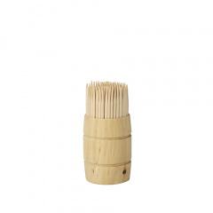 200 Zahnstocher, Holz rund 6,8 cm im Spender aus Holz