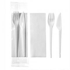 100 Bestecksets 23,5 cm x 5 cm : Messer, Gabel, Serviette