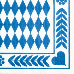 20 Servietten, 3-lagig 1/4-Falz 33 cm x 33 cm -Bayrisch Blau-