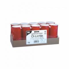 10 Kompositions-Öl-Lichte T6 Ø 6,8 cm 14,2 cm rote Hülle