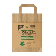 15 Kompostbeutel aus Papier mit Henkel 10 l 28 cm x 22 cm x 14 cm braun -bedruckt-