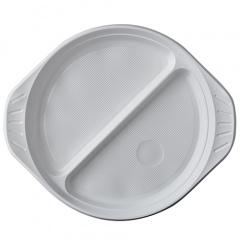 100 Menü-Teller, PP 2-geteilt Ø 21,9 cm 2,6 cm weiss mit Anfasser