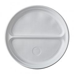 100 Menü-Teller, PP 2-geteilt Ø 21,9 cm 2,6 cm weiss ohne Anfasser