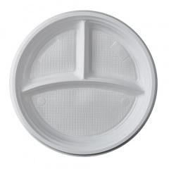 100 Menü-Teller, PP 3-geteilt Ø 21,9 cm 2,6 cm weiss ohne Anfasser