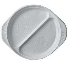 10 Menü-Teller, PP 2-geteilt Ø 21,9 cm 2,6 cm weiss mit Anfasser