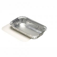 10 Schalen, Alu + Einlegdeckel, Pappe PE beschichtet eckig 650 ml 22 cm x 12,8 cm x 3,3 cm für Lasagne