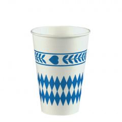 10 Trinkbecher, Pappe 0,2 l Ø 7 cm 9,7 cm -Bayrisch Blau-