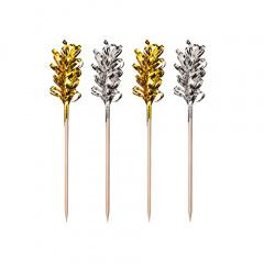 30 Deko-Picker 10,5 cm -Frills- gold / silber