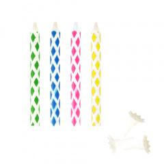10 Magic-Kerzen mit Halter 6 cm farbig sortiert