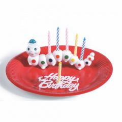 Halter für Geburtstagskerzen 6,5 cm x 15 cm -Würmli- mit 6 Kerzen