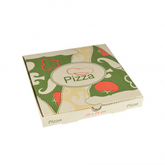 100 Pizzakartons, Cellulose eckig 24 cm x 24 cm x 3 cm -Italienische Flagge-