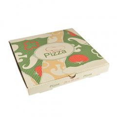100 Pizzakartons, Cellulose eckig 26 cm x 26 cm x 3 cm -Italienische Flagge-