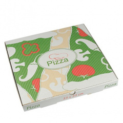 100 Pizzakartons, Cellulose eckig 33 cm x 33 cm x 3 cm -Italienische Flagge-