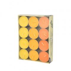 24 Teelichter Ø 38 mm 16 mm -gelb, orange, borneo-