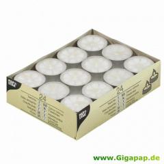 24 Teelichter Ø 38 mm 16 mm weiss -Blüte-