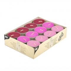 24 Teelichter Ø 38 mm 16 mm -rosa, pink, brombeere-