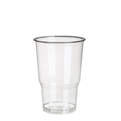 70 Kaltgetränkebecher, PLA -pure- 0,25 l Ø 7,8 cm 11 cm glasklar mit Schaumrand