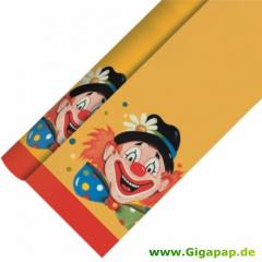 Tischdecke, Papier 7 m x 1,2 m -Clowngesicht- lackiert