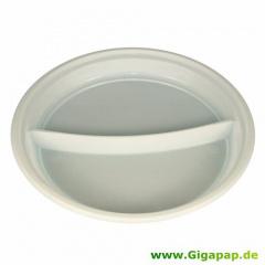 100 Menü-Teller, PS -Economy- 2-geteilt Ø 22 cm 2 cm weiss