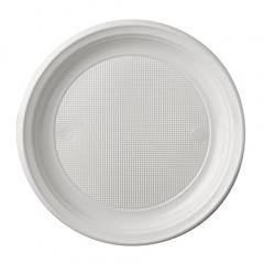 100 Menü-Teller, PS -Economy- ungeteilt Ø 20,5 cm 2 cm weiss