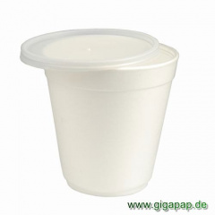 36 Suppenbecher, EPS -To Go- 600 ml Ø 12 cm x 11,5 cm weiss mit Deckel PS transluzent