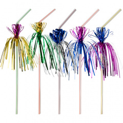 50 Trinkhalme, flexibel Ø 5 mm 24 cm farbig sortiert -Flower-
