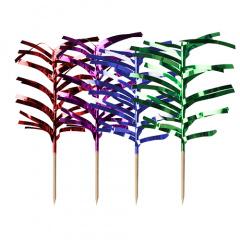 144 Deko-Picker 12 cm farbig sortiert -Palmblätter-