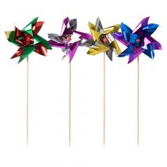100 Deko-Picker 17,5 cm farbig sortiert -Windmühle-