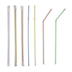 600 Trinkhalme, flexibel Ø 5 mm 24 cm weiss -Streifen- einzeln gehüllt