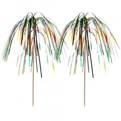 100 Deko-Picker 15,5 cm -Feuerwerk- multicolor