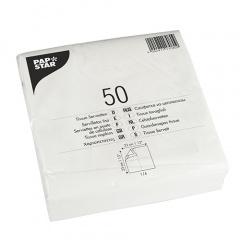 50 Servietten, 2-lagig -Economy- 1/4-Falz 33 cm x 33 cm weiss