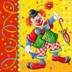 20 Servietten, 3-lagig 1/4-Falz 33 cm x 33 cm -Clowngesicht-