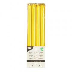 8 Leuchterkerzen Ø 2,2 cm 25 cm gelb aus 100 % Stearin