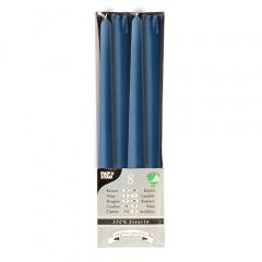 8 Leuchterkerzen Ø 2,2 cm 25 cm dunkelblau aus 100 % Stearin