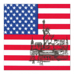 50 Servietten, 3-lagig 1/4-Falz 33 cm x 33 cm -America-