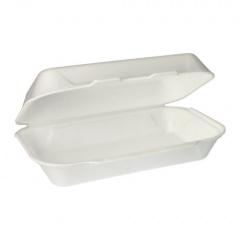 100 Allzweckboxen mit Klappdeckeln, EPS 1800 ml 7,5 cm x 24 cm x 13,3 cm weiss