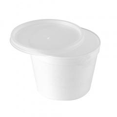 44 Suppenbecher, EPS -To Go- 300 ml Ø 10,5 cm 7,5 cm weiss mit Deckel PS transluzent