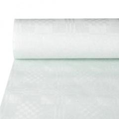Papiertischdecke / Papiertischtuch mit Damastprägung 50 m x 1,2 m weiss