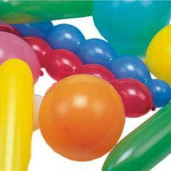 75 Luftballons farbig sortiert -verschiedene Formen- extra groß