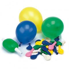 50 Luftballons mit Pumpe Ø 9 cm farbig sortiert