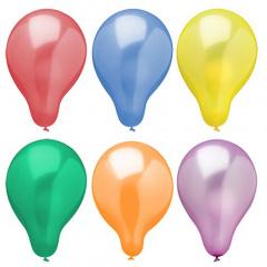 6 Luftballons Ø 25 cm farbig sortiert -Metallic-
