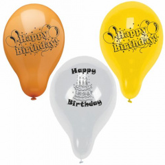 10 Luftballons Ø 25 cm farbig sortiert -Happy Birthday-