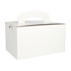 20 Lunch-Boxen, Pappe eckig 12,5 cm x 15,5 cm x 22,5 cm weiss mit Tragegriff