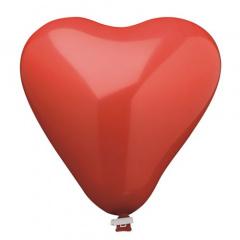 Luftballon, Maxi Ø 50 cm rot -Herz- mit Verschlußclip