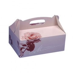 20 Gebäck-Kartons, Pappe eckig 16 cm x 10 cm x 9 cm rosé mit Tragegriff