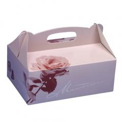 15 Gebäck-Kartons, Pappe eckig 23 cm x 16 cm x 9 cm rosé mit Tragegriff