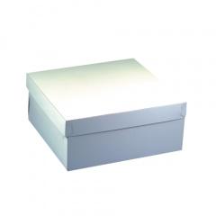 10 Tortenkartons, mit Deckel, Pappe eckig 30 cm x 30 cm x 10 cm weiss