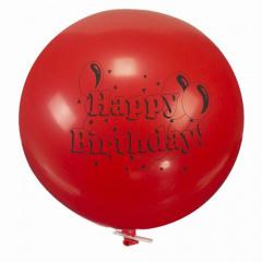 Luftballon, Maxi Ø 70 cm farbig sortiert -Happy Birthday- mit Verschlußclip