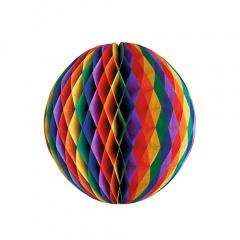 Wabenball Ø 60 cm -Regenbogen- schwer entflammbar