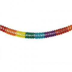 Girlande, Papier Ø 16 cm 6 m -Rainbow- schwer entflammbar